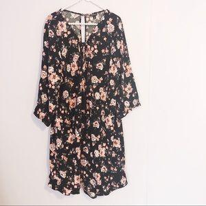 Torrid Black Floral Long Sleeve Midi Dress
